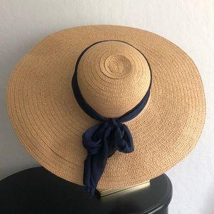 Retro Glam OverSize Navy bow Tie Straw Sun Hat